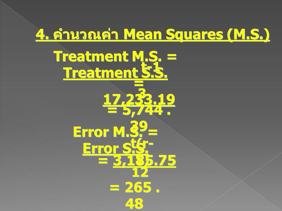 4. คำนวณค่า Mean Squares (M.S.) Treatment M.S. = Treatment S.S. t-1 = 17,233.19 3 3 = 5,744. 39 Error M.S. = Error S.S. t(r- 1) = 3,185.75 12 = 265. 4