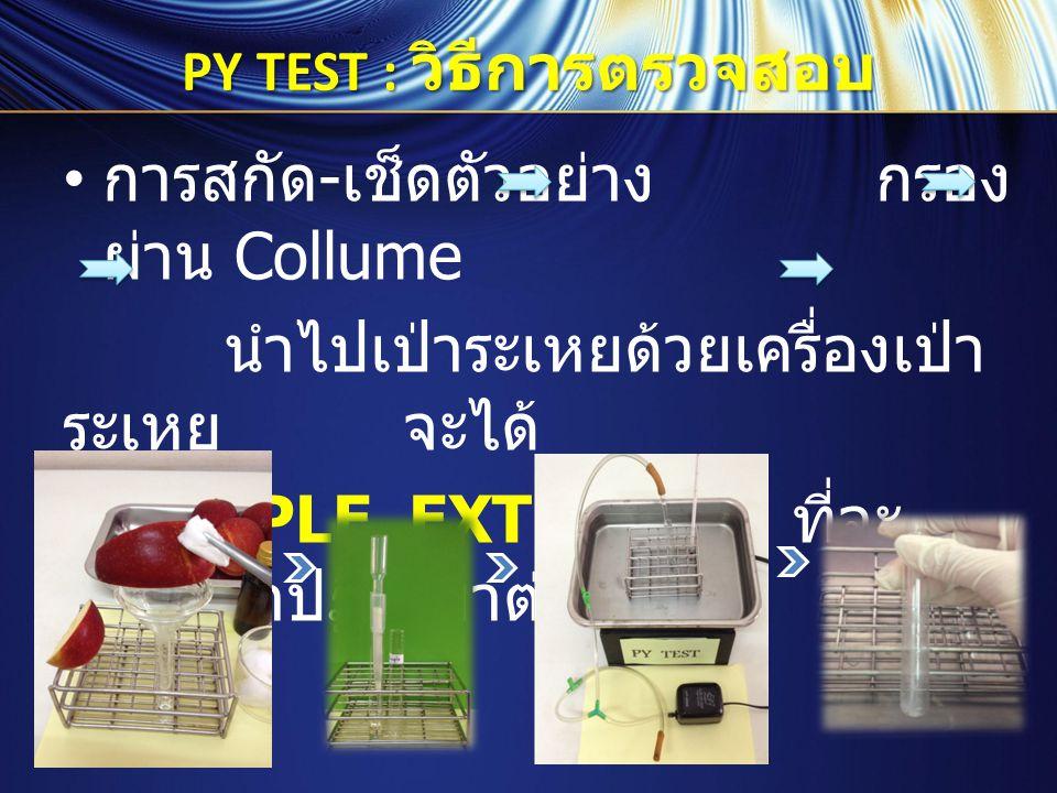 PY TEST : วิธีการตรวจสอบ การตรวจสอบ : ปฏิบัติตาม ตารางต่อไปนี้ หลอด BLANK หลอด SAMPLE ชนิดสาร BLANK 250 ไมโครลิตร SAMPLE EXTRACT 250 ไมโครลิตร หมายเหตุ PY-1 250 ไมโครลิตร เขย่าและ นำไปอุ่น อุ่นในอ่างน้ำอุ่นที่อุณหภูมิ 37  C ( หรือช่วง 35 - 40  C) นาน 10 นาที ครบเวลานำออกมาจากอ่างน้ำอุ่น - เติมสาร PY-2 750 ไมโครลิตร เขย่า PY-3 100 ไมโครลิตร เขย่า PY-4 250 ไมโครลิตร เขย่า PY-5 500 ไมโครลิตร เขย่า PY-6500 ไมโครลิตร เขย่า / อ่าน ผล