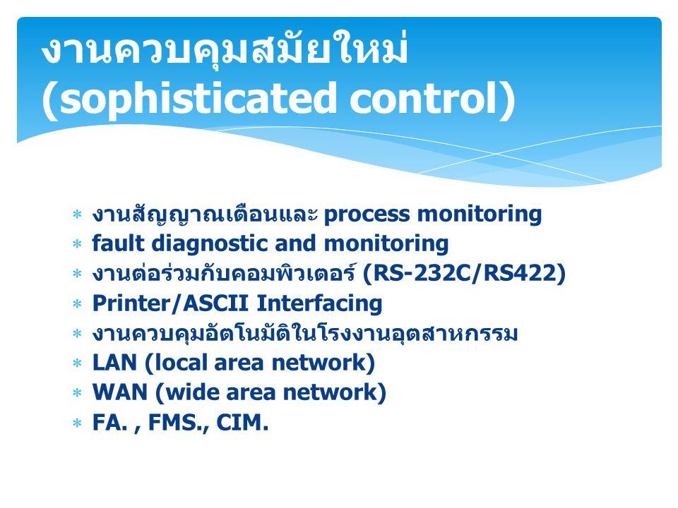  งานสัญญาณเตือนและ process monitoring  fault diagnostic and monitoring  งานต่อร่วมกับคอมพิวเตอร์ (RS-232C/RS422)  Printer/ASCII Interfacing  งานค