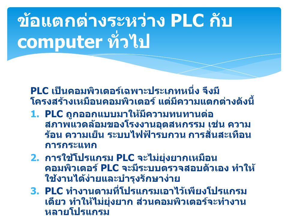 PLC เป็นคอมพิวเตอร์เฉพาะประเภทหนึ่ง จึงมี โครงสร้างเหมือนคอมพิวเตอร์ แต่มีความแตกต่างดังนี้ 1.PLC ถูกออกแบบมาให้มีความทนทานต่อ สภาพแวดล้อมของโรงงานอุต