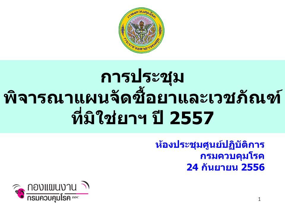 การประชุม พิจารณาแผนจัดซื้อยาและเวชภัณฑ์ ที่มิใช่ยาฯ ปี 2557 ห้องประชุมศูนย์ปฏิบัติการ กรมควบคุมโรค 24 กันยายน 2556 1