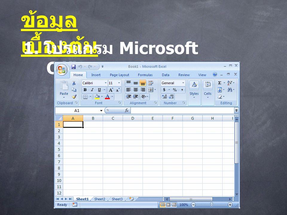 ข้อมูล เบื้องต้น 1. โปรแกรม Microsoft Office Excel