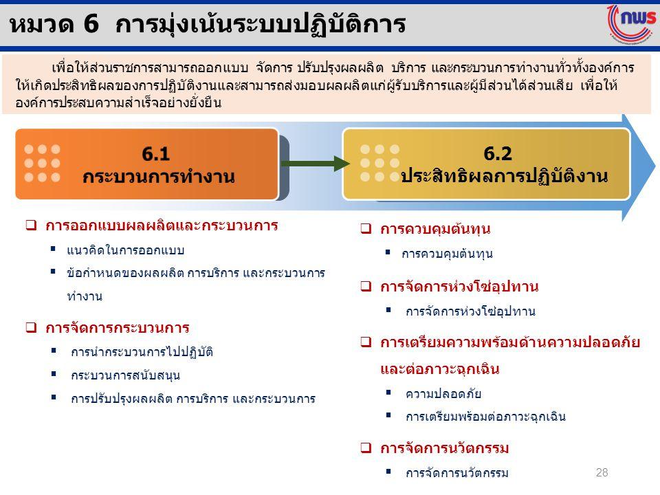 6.2 ประสิทธิผลการปฏิบัติงาน หมวด 6 การมุ่งเน้นระบบปฏิบัติการ  การออกแบบผลผลิตและกระบวนการ  แนวคิดในการออกแบบ  ข้อกำหนดของผลผลิต การบริการ และกระบวน