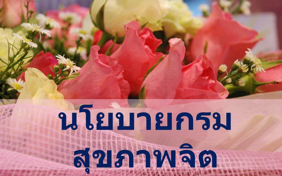 IQ + EQ เด็กไทย : มีการประเมินและ พัฒนารายจังหวัดรายจังหวัด เพื่อการ เตรียมคนที่จะมาพัฒนาประเทศใน อนาคต การประเมินและวิเคราะห์ความสุขของ คนไทย เพื่อนำไปสู่การพัฒนา สุขภาพจิตของประชาชนในแต่ละ จังหวัด การใช้ประโยชน์จากข้อมูลด้าน สุขภาพจิตและจิตเวช โดยเฉพาะอัตรา การฆ่าตัวตาย การประกวดหน่วยงานสาธารณสุขใน สังกัดสำนักงานปลัดกระทรวง รวมถึง อปท.