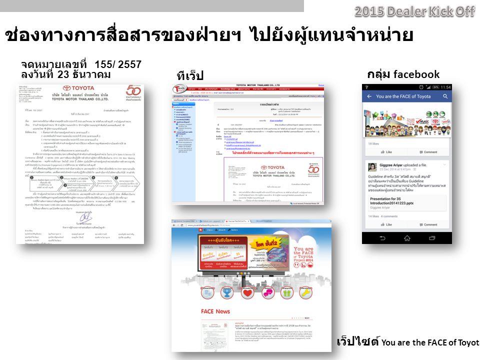 ช่องทางการสื่อสารของฝ่ายฯ ไปยังผู้แทนจำหน่าย ทีเว็ป จดหมายเลขที่ 155/ 2557 ลงวันที่ 23 ธันวาคม กลุ่ม facebook เว็ปไซต์ You are the FACE of Toyota