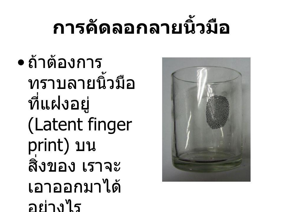 การคัดลอกลายนิ้วมือ ถ้าต้องการ ทราบลายนิ้วมือ ที่แฝงอยู่ (Latent finger print) บน สิ่งของ เราจะ เอาออกมาได้ อย่างไร