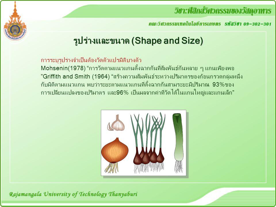 """รูปร่างและขนาด (Shape and Size) การระบุรูปร่างจำเป็นต้องวัดตัวแปรมิติบางตัว Mohsenin(1978) """"การวัดตามแนวแกนตั้งฉากกันที่สัมพันธ์กันหลาย ๆ แกนเพียงพอ """""""