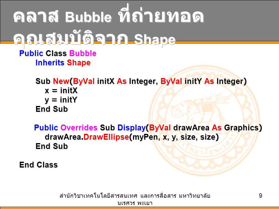 สำนักวิชาเทคโนโลยีสารสนเทศ และการสื่อสาร มหาวิทยาลัย นเรศวร พะเยา 9 คลาส Bubble ที่ถ่ายทอด คุณสมบัติจาก Shape Public Class Bubble Public Class Bubble