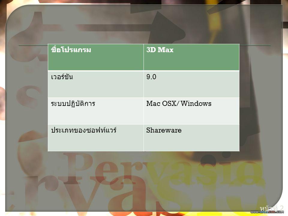 หน้าที่ 2 ชื่อโปรแกรม 3D Max เวอร์ชัน 9.0 ระบบปฏิบัติการ Mac OSX/ Windows ประเภทของซอฟท์แวร์ Shareware