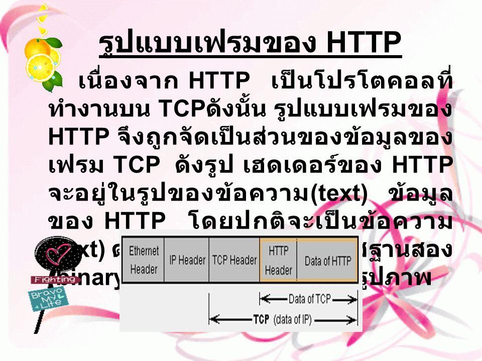 รูปแบบเฟรมของ HTTP เนื่องจาก HTTP เป็นโปรโตคอลที่ ทำงานบน TCP ดังนั้น รูปแบบเฟรมของ HTTP จึงถูกจัดเป็นส่วนของข้อมูลของ เฟรม TCP ดังรูป เฮดเดอร์ของ HTT