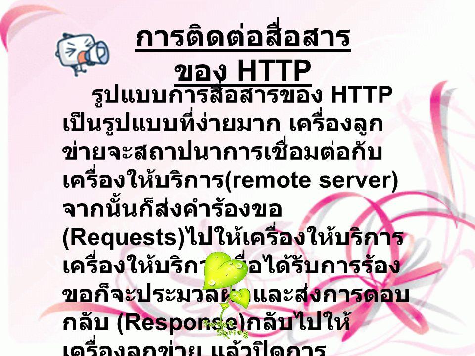 รูปแบบการสื่อสารของ HTTP เป็นรูปแบบที่ง่ายมาก เครื่องลูก ข่ายจะสถาปนาการเชื่อมต่อกับ เครื่องให้บริการ (remote server) จากนั้นก็ส่งคำร้องขอ (Requests)