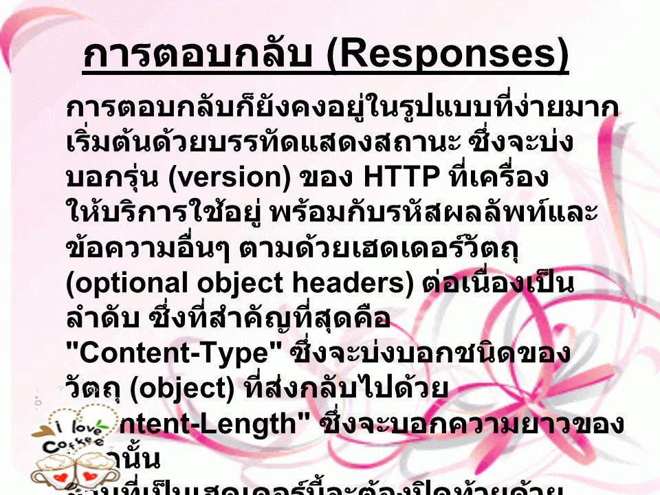 การตอบกลับ (Responses) การตอบกลับก็ยังคงอยู่ในรูปแบบที่ง่ายมาก เริ่มต้นด้วยบรรทัดแสดงสถานะ ซึ่งจะบ่ง บอกรุ่น (version) ของ HTTP ที่เครื่อง ให้บริการใช