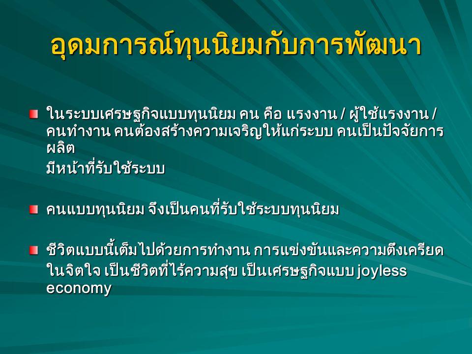 ข้อสงสัย บางคนตั้งข้อสังเกตว่า ในประเทศไทยเราเป็นสังคม ของชาวพุทธ แต่ทำไมคนไทยจึงถูกครอบงำอย่างง่ายดายจาก อุดมการณ์ทุนนิยม ซึ่งเน้นเรื่องความเจริญ และ