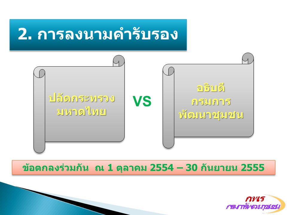 ข้อตกลงร่วมกัน ณ 1 ตุลาคม 2554 – 30 กันยายน 2555 VS 2. การลงนามคำรับรอง ปลัดกระทรวง มหาดไทย อธิบดี กรมการ พัฒนาชุมชน