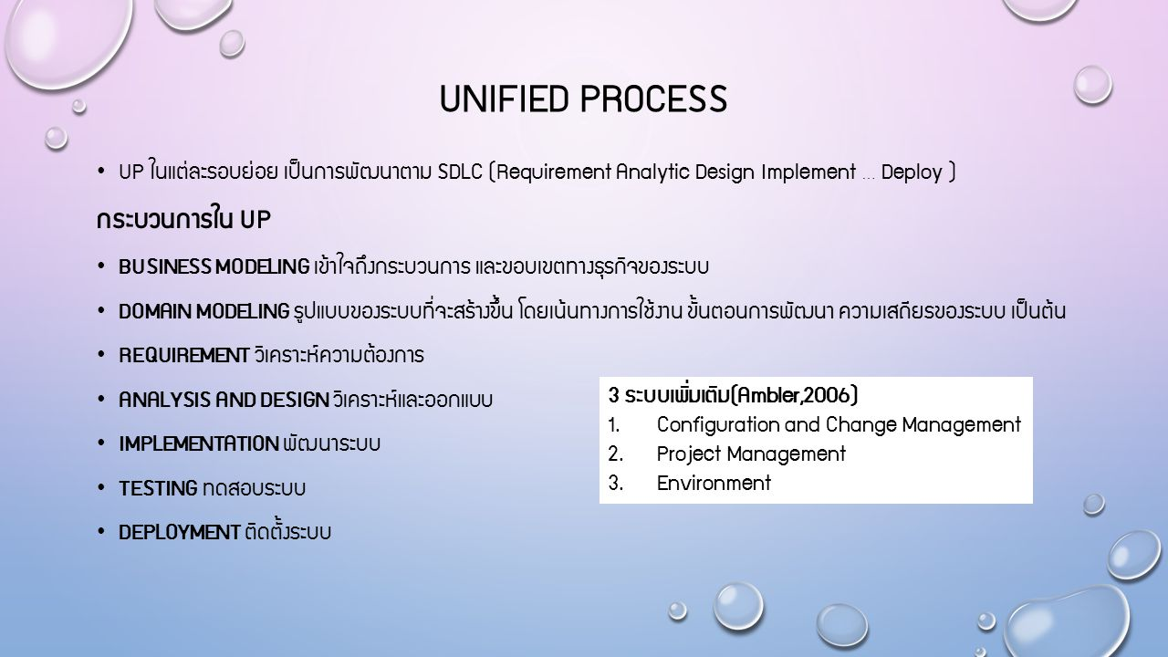 UNIFIED PROCESS UP ในแต่ละรอบย่อย เป็นการพัฒนาตาม SDLC (Requirement Analytic Design Implement … Deploy ) กระบวนการใน UP BUSINESS MODELING เข้าใจถึงกระ