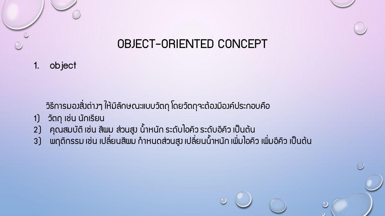 OBJECT-ORIENTED CONCEPT 1. object วิธีการมองสิ่งต่างๆ ให้มีลักษณะแบบวัตถุ โดยวัตถุจะต้องมีองค์ประกอบคือ 1) วัตถุ เช่น นักเรียน 2) คุณสมบัติ เช่น สีผม
