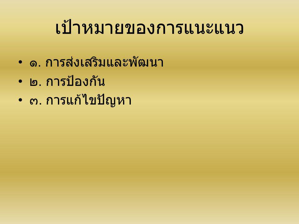 เป้าหมายของการแนะแนว ๑. การส่งเสริมและพัฒนา ๒. การป้องกัน ๓. การแก้ไขปัญหา