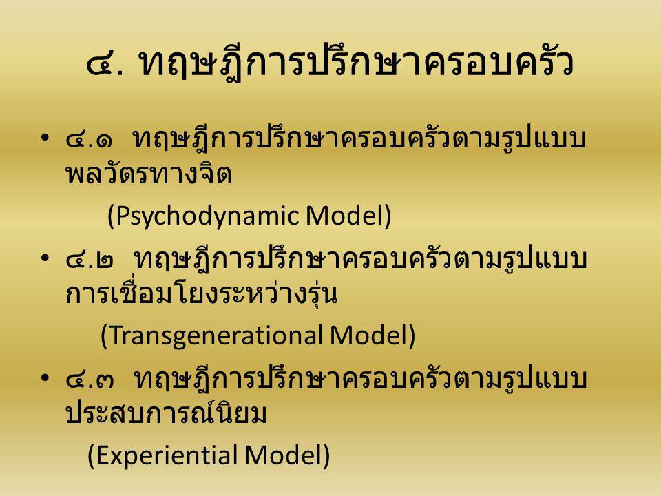 ๔. ทฤษฎีการปรึกษาครอบครัว ๔. ๑ ทฤษฎีการปรึกษาครอบครัวตามรูปแบบ พลวัตรทางจิต (Psychodynamic Model) ๔. ๒ ทฤษฎีการปรึกษาครอบครัวตามรูปแบบ การเชื่อมโยงระห