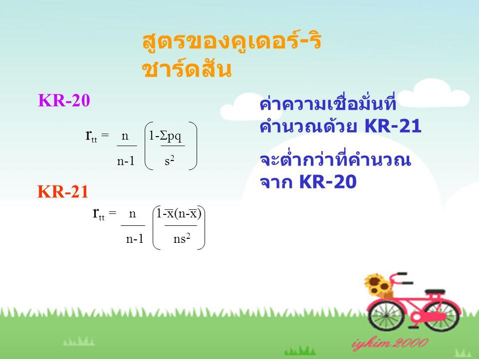 สูตรของคูเดอร์ - ริ ชาร์ดสัน KR-20 r tt = n 1-  pq n-1 s 2 KR-21 r tt = n 1-x(n-x) n-1 ns 2 ค่าความเชื่อมั่นที่ คำนวณด้วย KR-21 จะต่ำกว่าที่คำนวณ จาก KR-20