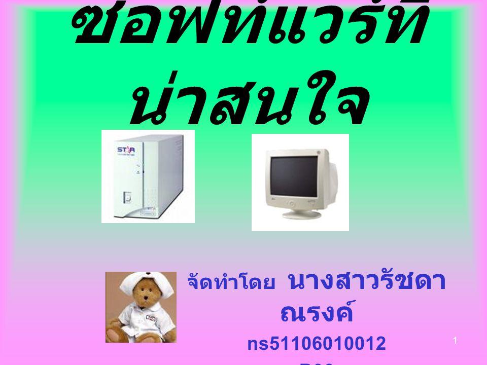 1 ซอฟท์แวร์ที่ น่าสนใจ จัดทำโดย นางสาวรัชดา ณรงค์ ns51106010012 B06