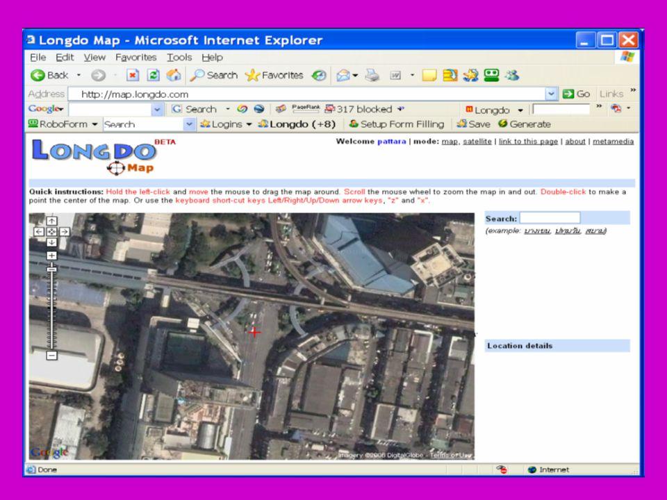 9 การดูภาพถ่ายดาวเทียม o Longdo Map มีการเชื่อมต่อกับ Google Map (http://maps.google.com/) ถ้าท่านต้องการชมภาพถ่าย ดาวเทียมของจุดที่กำลังดูอยู่ สามารถเปลี่ยนโหมดโดย กดตรงคำว่า satellite ได้ o เมื่อต้องการเปลี่ยนกลับมาดูภาพแผนที่เหมือนเดิม ให้ กดตรงคำว่า map click