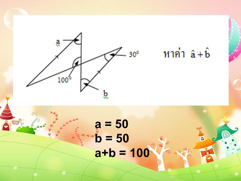 a = 50 b = 50 a+b = 100