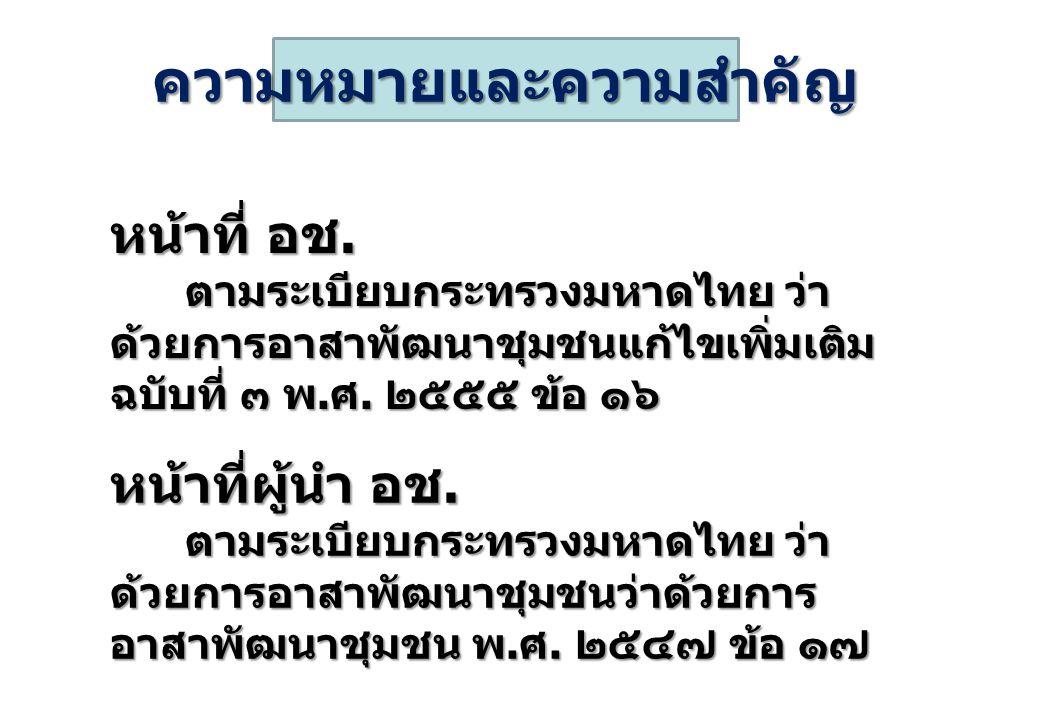 ความหมายและความสำคัญ หน้าที่ อช. ตามระเบียบกระทรวงมหาดไทย ว่า ด้วยการอาสาพัฒนาชุมชนแก้ไขเพิ่มเติม ฉบับที่ ๓ พ. ศ. ๒๕๕๕ ข้อ ๑๖ ตามระเบียบกระทรวงมหาดไทย