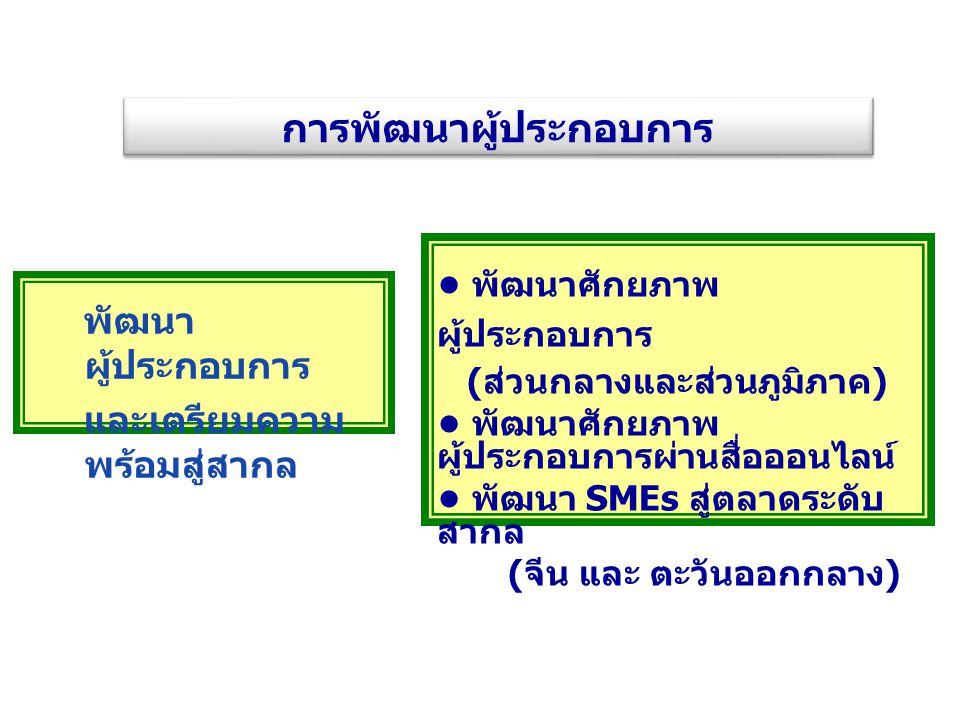 เชื่อมโยงเครือข่ายธุรกิจค้าส่ง - ค้า ปลีกไทย พัฒนาการกระจายสินค้า พัฒนาธุรกิจค้าส่ง - ค้าปลีก พัฒนาทักษะการบริหารจัดการ และ การตลาด ( ธุรกิจร้านอาหาร สปา และ อู่ซ่อม รถยนต์ ) ขยายโอกาสทางการตลาด / สร้าง ความพร้อมสู่สากล ( ธุรกิจร้านอาหาร และ สปา ) เสริมสร้างความรู้แนวทางการสร้าง เครือข่ายธุรกิจ ( ธุรกิจก่อสร้าง ) ศึกษาศักยภาพธุรกิจบริการไทย และ ผลกระทบ ตลาดเสรี พัฒนาธุรกิจบริการ การพัฒนาธุรกิจเป้าหมาย