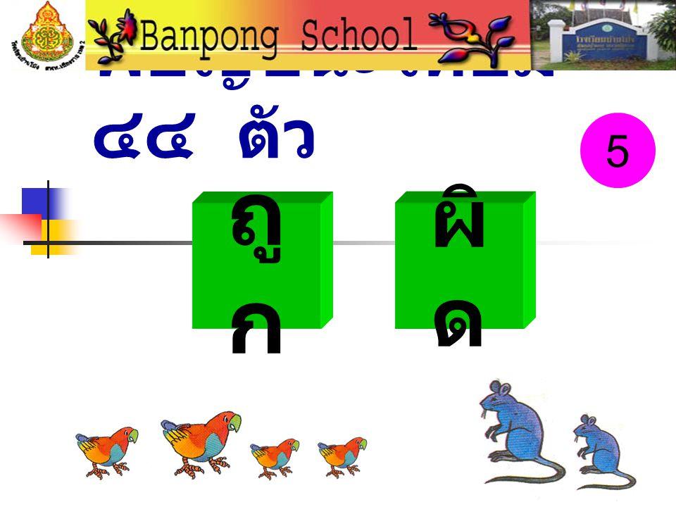 พยัญชนะไทยมี ๔๔ ตัว ถู ก ผิ ด 5