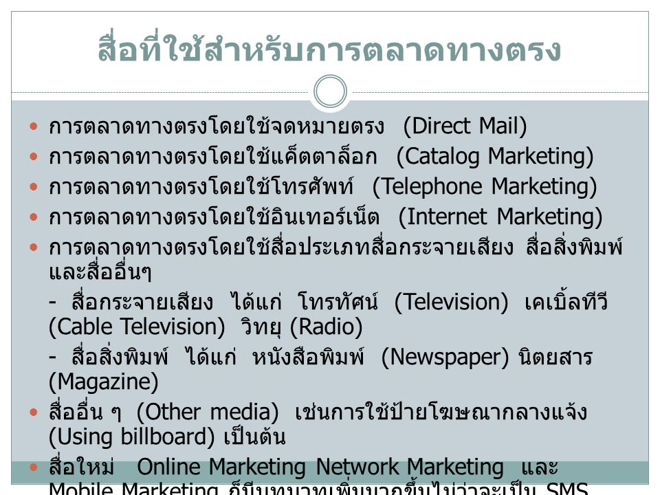 สื่อที่ใช้สำหรับการตลาดทางตรง การตลาดทางตรงโดยใช้จดหมายตรง (Direct Mail) การตลาดทางตรงโดยใช้แค็ตตาล็อก (Catalog Marketing) การตลาดทางตรงโดยใช้โทรศัพท์