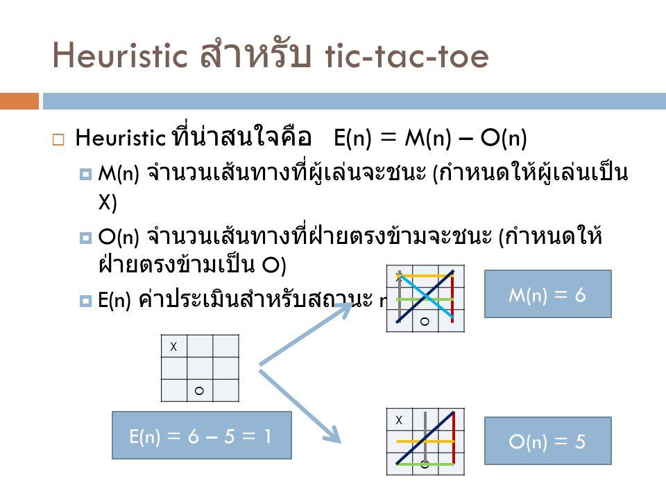 Heuristic สำหรับ tic-tac-toe  Heuristic ที่น่าสนใจคือ E(n) = M(n) – O(n)  M(n) จำนวนเส้นทางที่ผู้เล่นจะชนะ ( กำหนดให้ผู้เล่นเป็น X)  O(n) จำนวนเส้น
