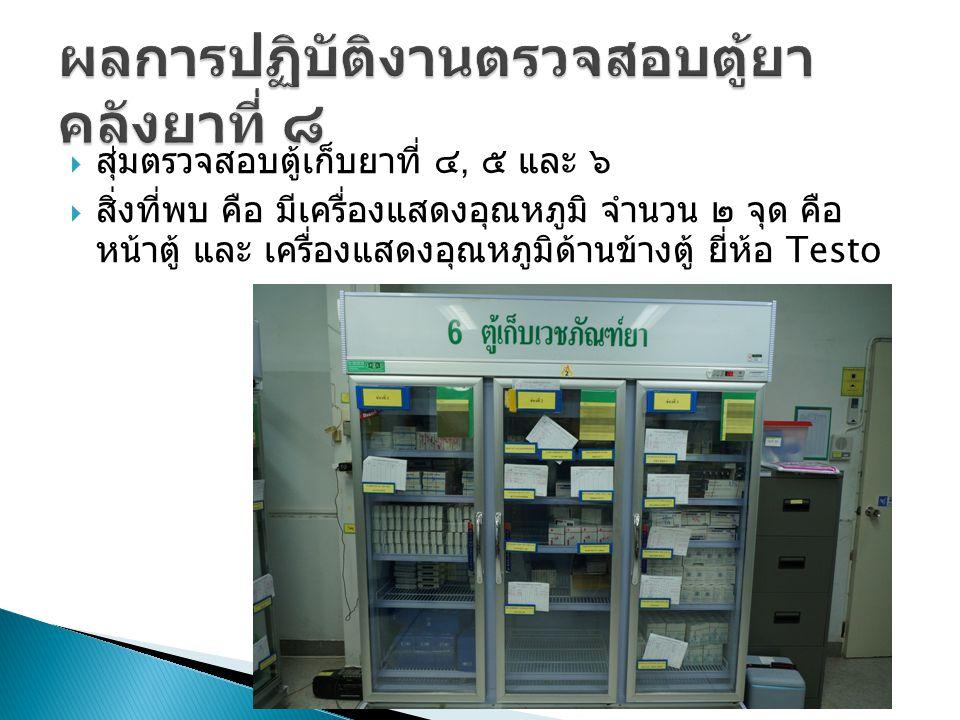  สุ่มตรวจสอบตู้เก็บยาที่ ๔, ๕ และ ๖  สิ่งที่พบ คือ มีเครื่องแสดงอุณหภูมิ จำนวน ๒ จุด คือ หน้าตู้ และ เครื่องแสดงอุณหภูมิด้านข้างตู้ ยี่ห้อ Testo