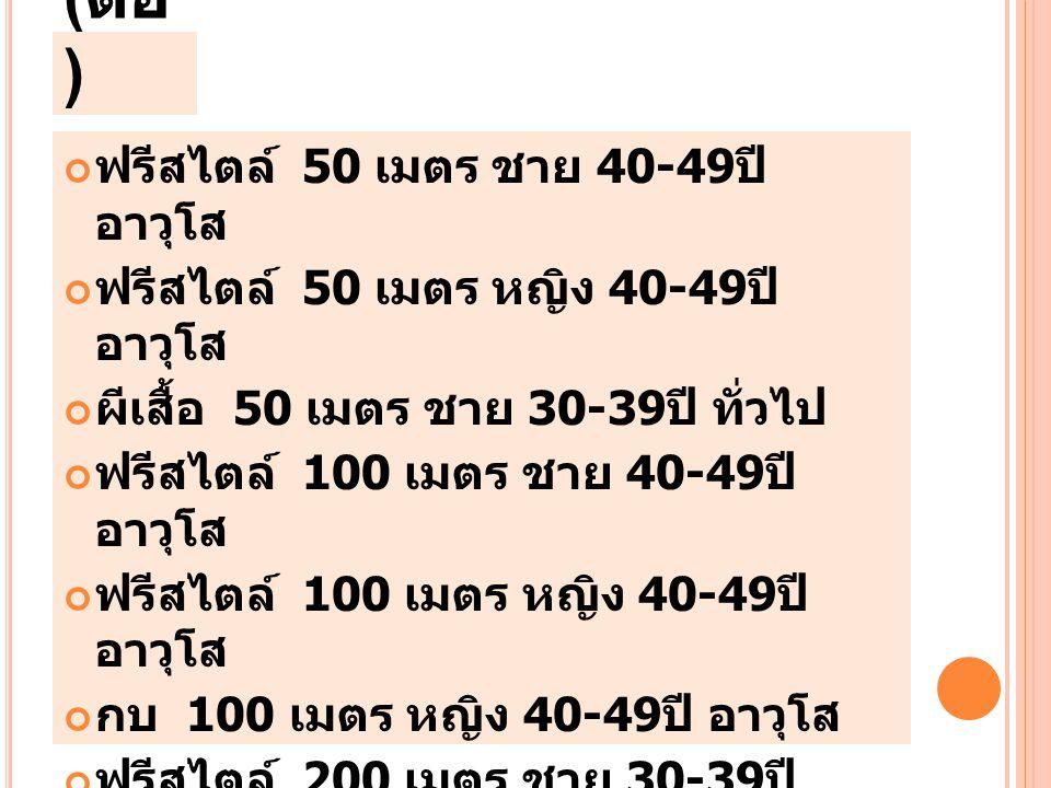 ( ต่อ ) ฟรีสไตล์ 50 เมตร ชาย 40-49 ปี อาวุโส ฟรีสไตล์ 50 เมตร หญิง 40-49 ปี อาวุโส ผีเสื้อ 50 เมตร ชาย 30-39 ปี ทั่วไป ฟรีสไตล์ 100 เมตร ชาย 40-49 ปี