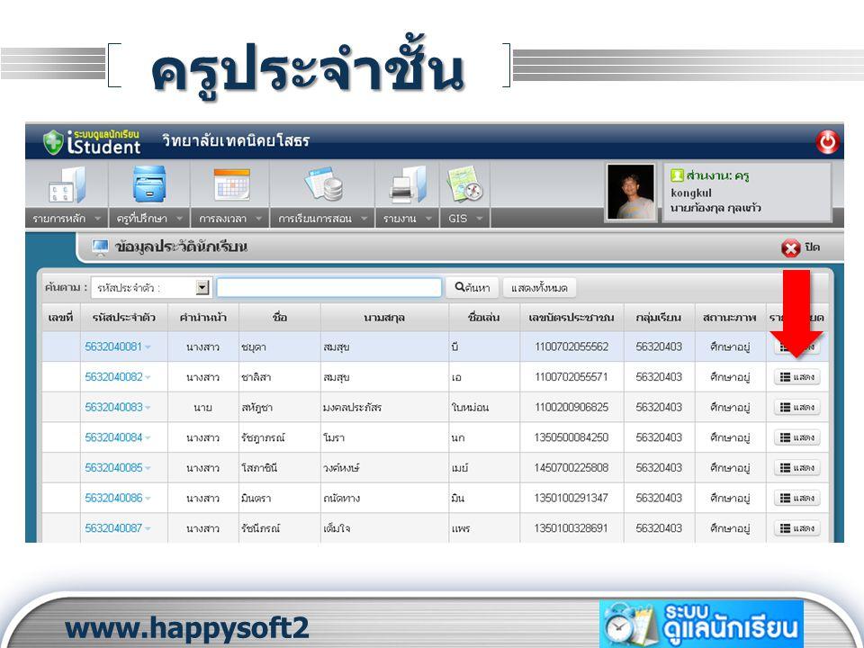 LOGO ครูประจำชั้น www.happysoft2 010.com 1 2