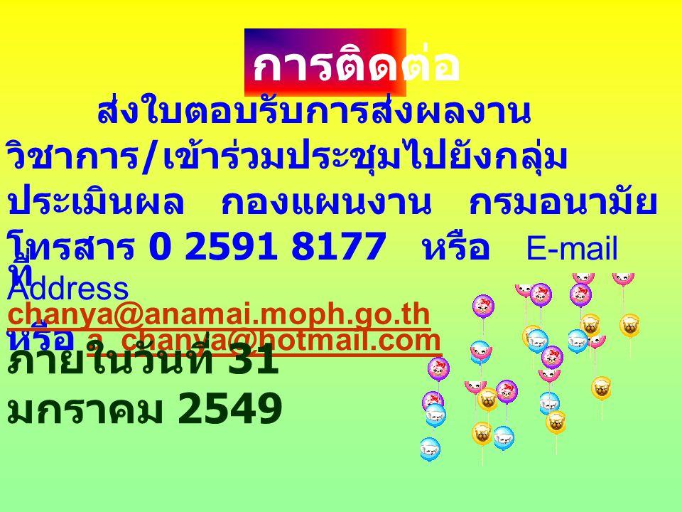 การติดต่อ ส่งใบตอบรับการส่งผลงาน วิชาการ / เข้าร่วมประชุมไปยังกลุ่ม ประเมินผล กองแผนงาน กรมอนามัย โทรสาร 0 2591 8177 หรือ E-mail Address หรือ a_chanya@hotmail.com a_chanya@hotmail.com ที่ chanya@anamai.moph.go.th chanya@anamai.moph.go.th ภายในวันที่ 31 มกราคม 2549