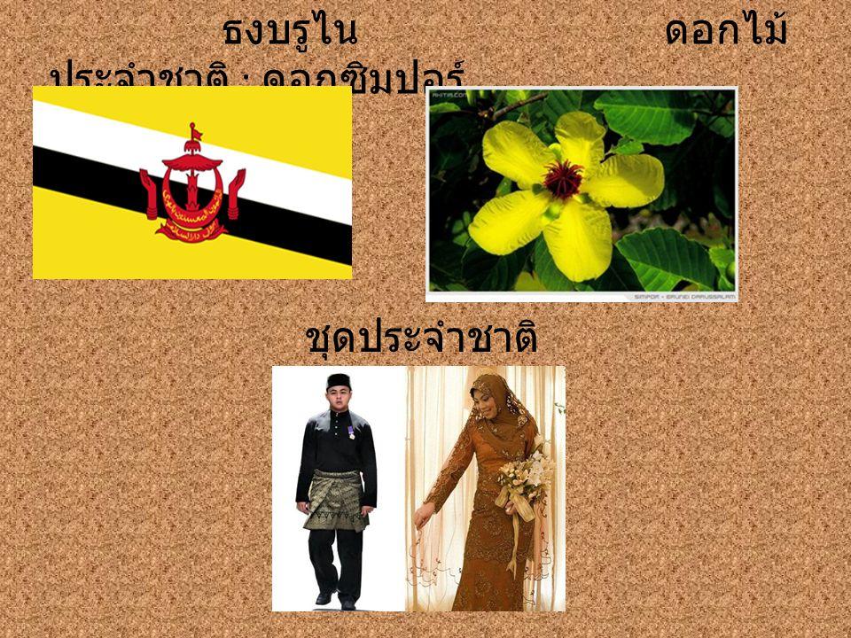 ธงบรูไน ดอกไม้ ประจำชาติ : ดอกซิมปอร์ ชุดประจำชาติ