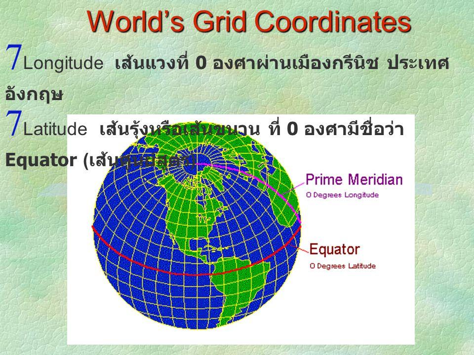 World's Grid Coordinates  Longitude เส้นแวงที่ 0 องศาผ่านเมืองกรีนิช ประเทศ อังกฤษ  Latitude เส้นรุ้งหรือเส้นขนาน ที่ 0 องศามีชื่อว่า Equator ( เส้น