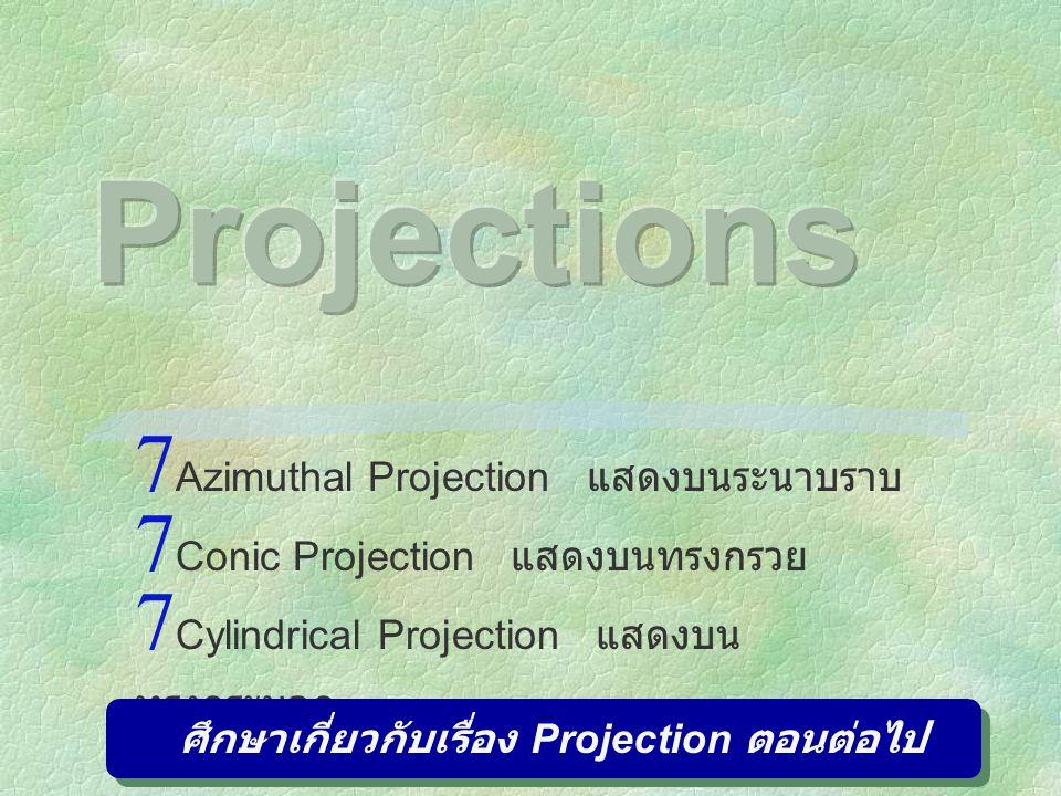  Azimuthal Projection แสดงบนระนาบราบ  Conic Projection แสดงบนทรงกรวย  Cylindrical Projection แสดงบน ทรงกระบอก ศึกษาเกี่ยวกับเรื่อง Projection ตอนต่