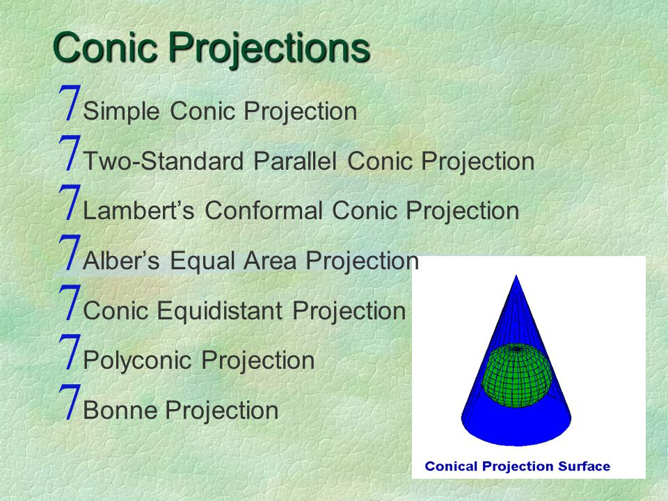 Conic Projections 7 Simple Conic Projection 7 Two-Standard Parallel Conic Projection 7 Lambert's Conformal Conic Projection 7 Alber's Equal Area Projection 7 Conic Equidistant Projection 7 Polyconic Projection 7 Bonne Projection