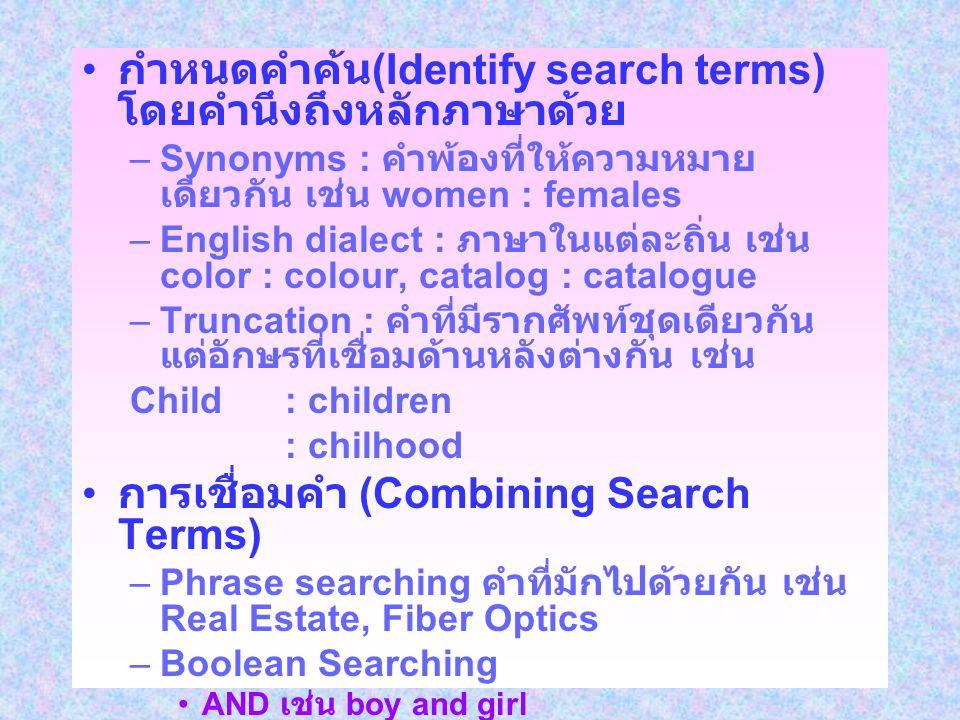 กำหนดคำค้น (Identify search terms) โดยคำนึงถึงหลักภาษาด้วย –Synonyms : คำพ้องที่ให้ความหมาย เดียวกัน เช่น women : females –English dialect : ภาษาในแต่