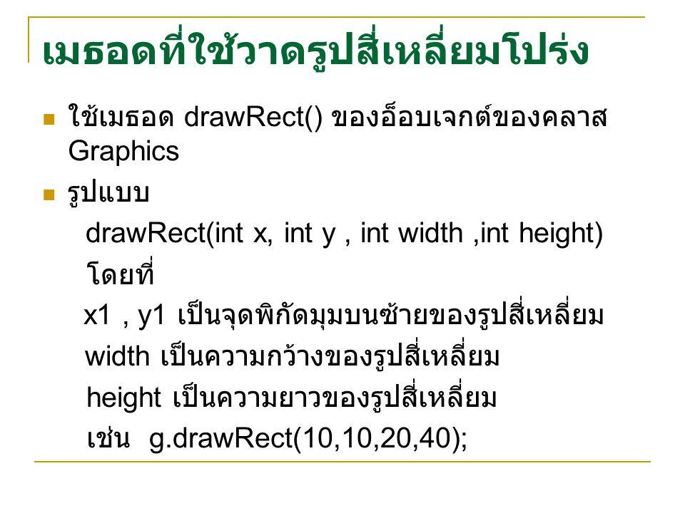 เมธอดที่ใช้วาดรูปสี่เหลี่ยมโปร่ง ใช้เมธอด drawRect() ของอ็อบเจกต์ของคลาส Graphics รูปแบบ drawRect(int x, int y, int width,int height) โดยที่ x1, y1 เป็นจุดพิกัดมุมบนซ้ายของรูปสี่เหลี่ยม width เป็นความกว้างของรูปสี่เหลี่ยม height เป็นความยาวของรูปสี่เหลี่ยม เช่น g.drawRect(10,10,20,40);