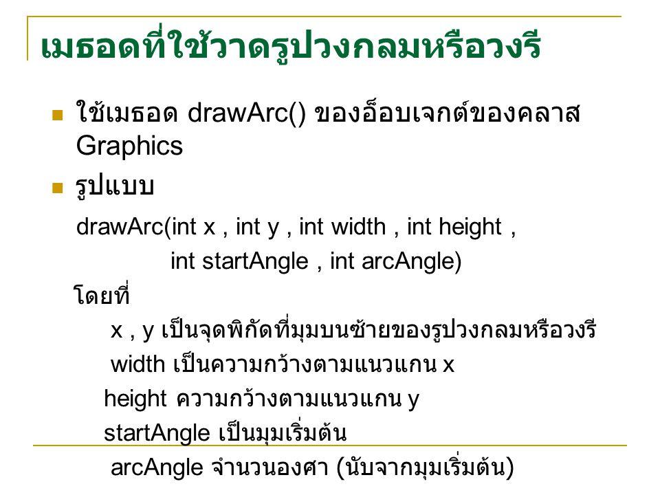 ใช้เมธอด drawArc() ของอ็อบเจกต์ของคลาส Graphics รูปแบบ drawArc(int x, int y, int width, int height, int startAngle, int arcAngle) โดยที่ x, y เป็นจุดพิกัดที่มุมบนซ้ายของรูปวงกลมหรือวงรี width เป็นความกว้างตามแนวแกน x height ความกว้างตามแนวแกน y startAngle เป็นมุมเริ่มต้น arcAngle จำนวนองศา ( นับจากมุมเริ่มต้น ) เมธอดที่ใช้วาดรูปวงกลมหรือวงรี