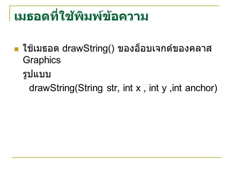 ใช้เมธอด drawString() ของอ็อบเจกต์ของคลาส Graphics รูปแบบ drawString(String str, int x, int y,int anchor) เมธอดที่ใช้พิมพ์ข้อความ