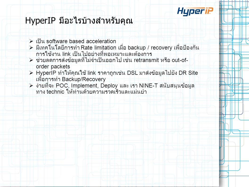 HyperIP มีอะไรบ้างสำหรับคุณ  เป็น software based acceleration  มีเทคโนโลยีการทำ Rate limitation เมื่อ backup / recovery เพื่อป้องกัน การใช้งาน link