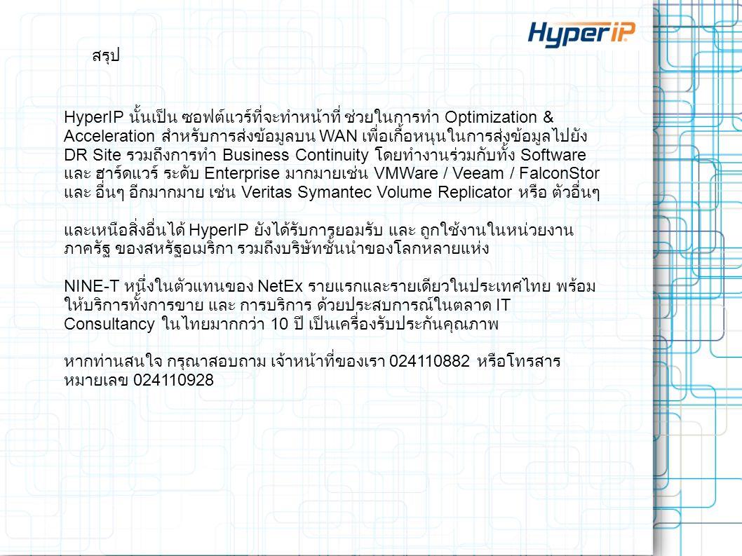 สรุป HyperIP นั้นเป็น ซอฟต์แวร์ที่จะทำหน้าที่ ช่วยในการทำ Optimization & Acceleration สำหรับการส่งข้อมูลบน WAN เพื่อเกื้อหนุนในการส่งข้อมูลไปยัง DR Si