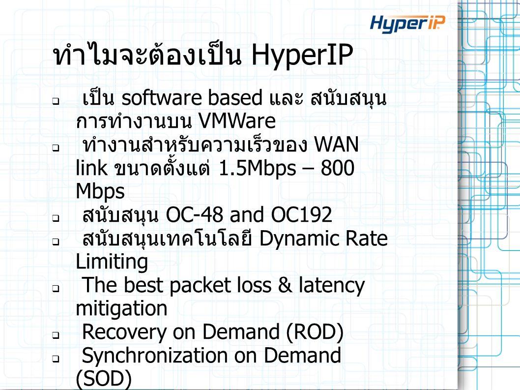 ทำไมจะต้องเป็น HyperIP  เป็น software based และ สนับสนุน การทำงานบน VMWare  ทำงานสำหรับความเร็วของ WAN link ขนาดตั้งแต่ 1.5Mbps – 800 Mbps  สนับสนุ