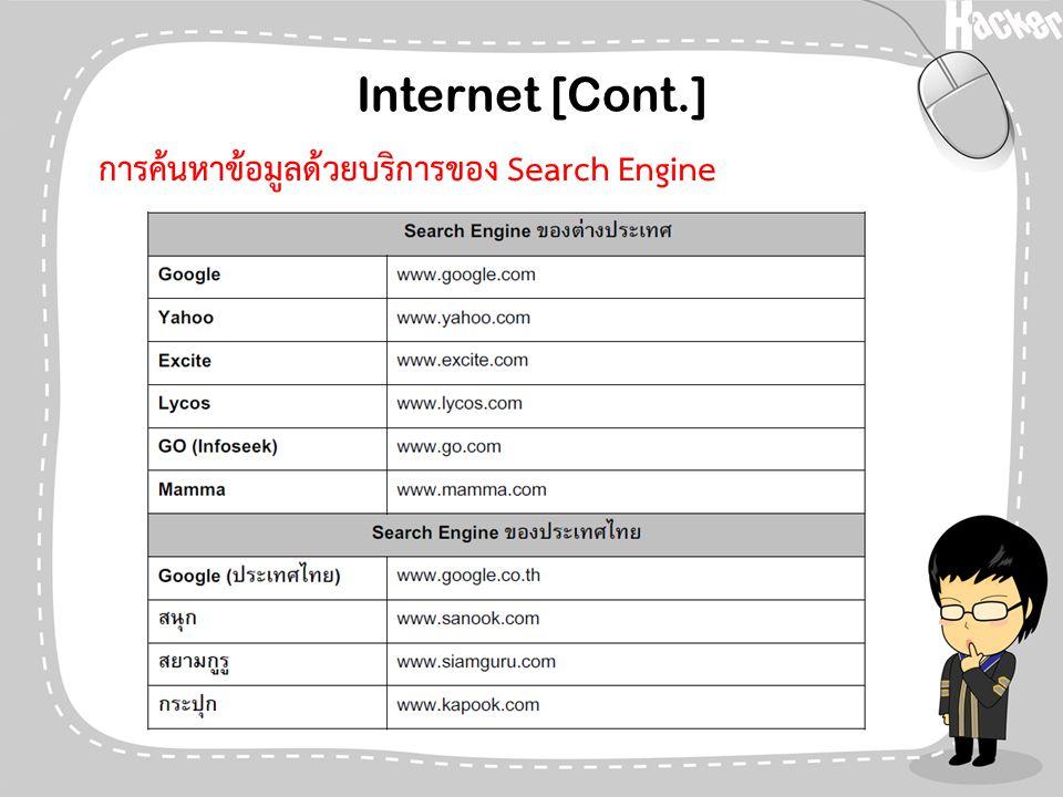 Internet [Cont.] การค้นหาข้อมูลด้วยบริการของ Search Engine