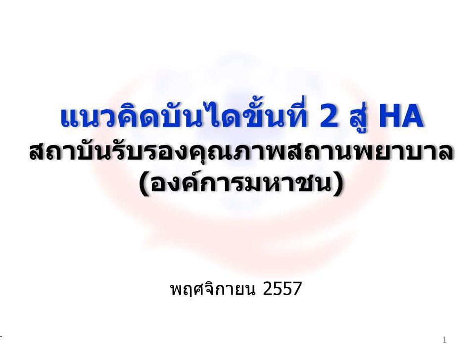 แนวคิดบันไดขั้นที่ 2 สู่ HA สถาบันรับรองคุณภาพสถานพยาบาล ( องค์การมหาชน ) แนวคิดบันไดขั้นที่ 2 สู่ HA สถาบันรับรองคุณภาพสถานพยาบาล ( องค์การมหาชน ) พฤ