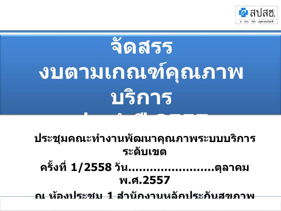 ประชุมชี้แจงการบริหารกองทุนหลักประกันสุขภาพแห่งชาติ ปีงบประมาณ 2556 เพิ่มประสิทธิภาพหลักประกันสุขภาพไทย ระหว่างวันที่ 11-12 ตุลาคม 2555 ณ โรงแรมเซ็นทราศูนย์ราชการ ถนนแจ้งวัฒนะ กรุงเทพมหานคร ประชุมคณะทำงานพัฒนาคุณภาพระบบบริการ ระดับเขต ครั้งที่ 1/2558 วัน …………………… ตุลาคม พ.