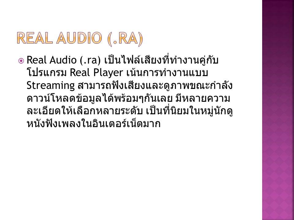  Real Audio (.ra) เป็นไฟล์เสียงที่ทำงานคู่กับ โปรแกรม Real Player เน้นการทำงานแบบ Streaming สามารถฟังเสียงและดูภาพขณะกำลัง ดาวน์โหลดข้อมูลได้พร้อมๆกั